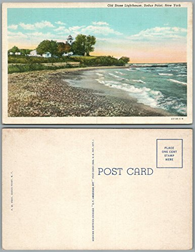 Lighthouse Postcard Old (SODUS POINT N.Y. OLD STONE LIGHTHOUSE ANTIQUE POSTCARD)