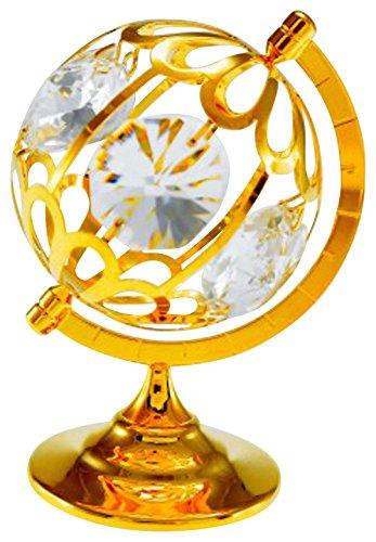 Small World Globe Figurine Spectra Crystals by Swarovski 24k Gold Plated (Swarovski Globe)