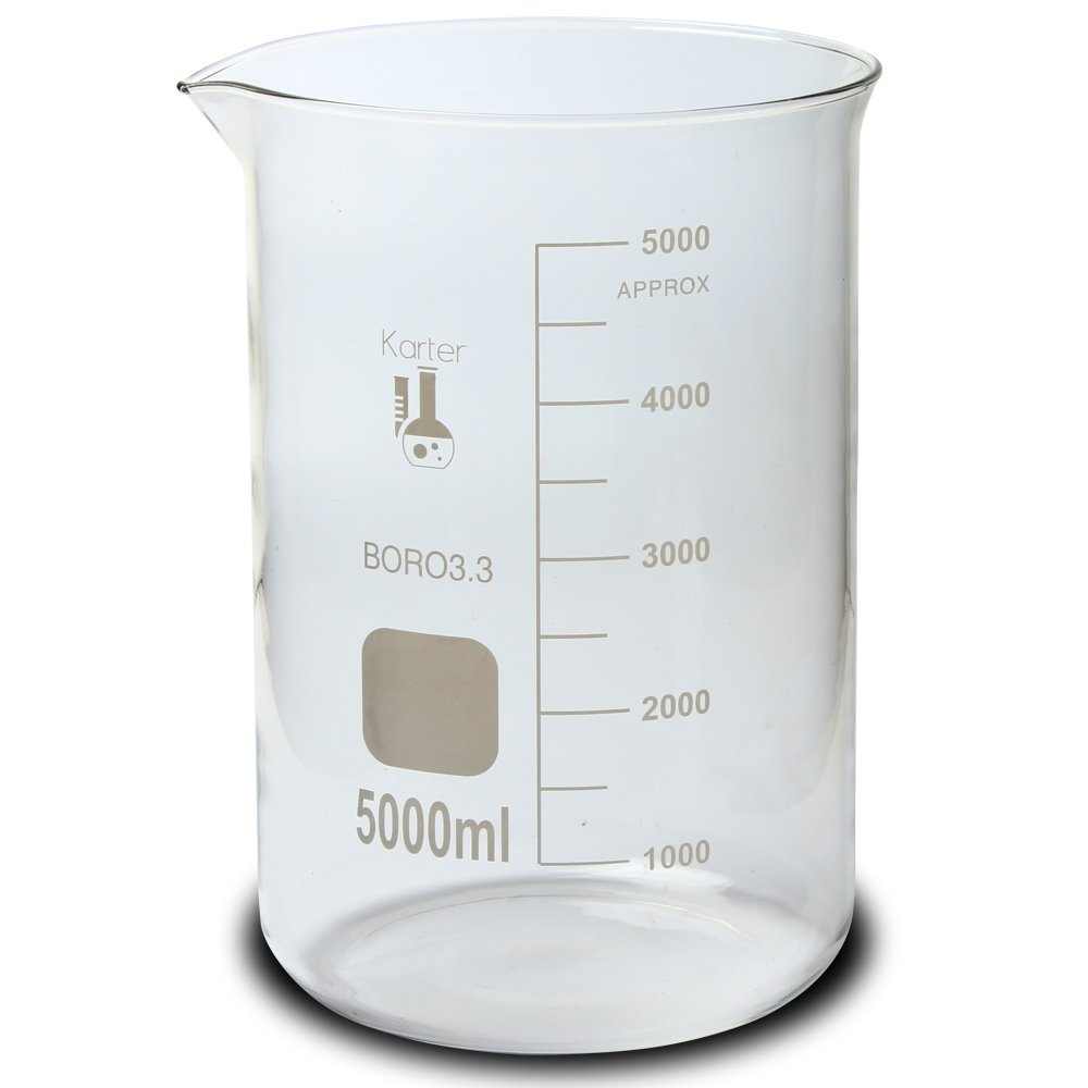 5000ml Beaker, Low Form Griffin, Borosilicate 3.3 Glass, Graduated, Karter Scientific 213D22 by Karter Scientific (Image #1)