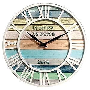 Tosbess 40cm Reloj de Pared Vintage Madera Reloj de Pared Reloj de Cocina según los Reloj Relojes Wall Clock sin tickge räusche para salón, Cocina, Oficina