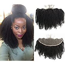 """Ms Fenda Hair 100% Raw Remy Virgin Peruvian Human Hair Afro Kinky Curly Style Bleached Knots 13""""x4"""" Lace Frontal Closure(12inches)"""
