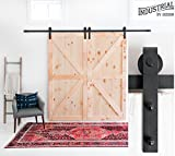 INDUSTRIAL BY DESIGN - 10ft Heavy Duty Double Sliding Barn Door Hardware Kit - 100% Steel One-Piece Rail - Ultra Smooth and Quiet – Easy Installation Supports 225 lbs. – Designed in USA