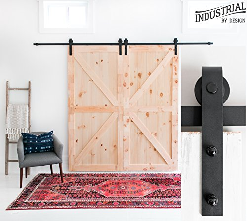 Industrial By Design - 10-Foot Heavy Duty Double Sliding Barn Door Hardware Kit (Black) - Easy Step-by-Step Instruction Video - Ultra Quiet - Supports 225 lbs.
