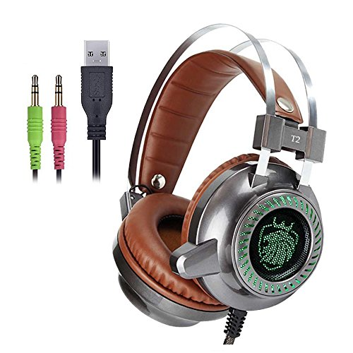 KingBig Over Ear LED Gaming Headset with Microphone Stereo Bass Sound Noise Isolating Volume Control