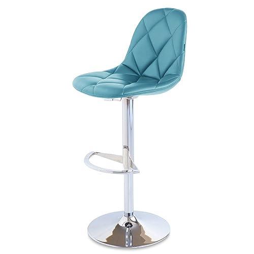 Zuri Furniture Teal Romy Adjustable Height Swivel Armless Bar Stool