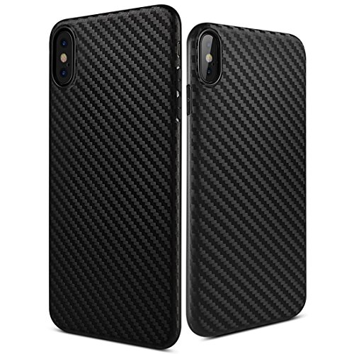 HOCO IPhone X Case 0.5mm Ultra Thin 6g Lightweight Carbon Fiber Pattern Soft TPU Cell Phone Cover Shockproof Dustproof Shock Absorbing Bumper and Anti-Scratch Anti-Slip IPhone 10 Case (Black)