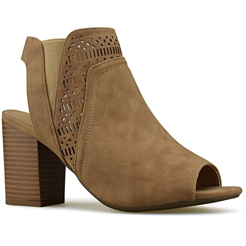 Shoes Out Peep Cut Toe (Premier Standard - Women's Cut Out Strap Bootie - Slip On Low Stacked Heel - Open Peep Toe Cutout Shoe, TPS Booties-40Ha Taupe Size 7)