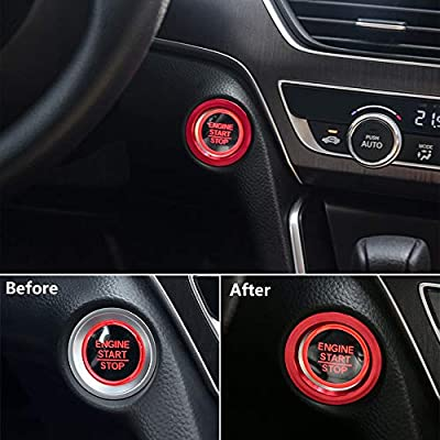 Thor-Ind Aluminum Car Engine Start Stop Button Cover Trim for 10th Honda Accord Sedan Sport EX EX-L LX 2020 2020 Ignition Start Button Surrounding Decoration Ring (Start Button-Red): Automotive