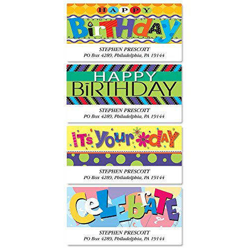 Bold Birthday Self-Adhesive, Flat-Sheet Deluxe Address Labels (4 Designs)