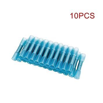 ccsfrgtrh - Kit eléctrico de Alambre de Cobre de bornes de Conector de Cable de Soldadura de Puntas termorretráctiles, Azul, 10 Piezas: Amazon.es: Hogar