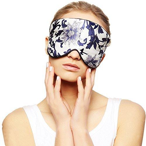 Silk Sleep Mask & Blindfold, Soft Eye Mask with Adjustable Head Strap, Deep Rest Eye Masks for Sleeping Night Eyeshade, Eye Cover for Travel, Shift Work & Meditation (Blue-White Porcelain)