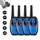 Walkie Talkies Rechargeable 4 Pack Walkie Talkie Kids Rechargeable 2 Way Radios Long Range 2 Miles 22 Channels Handheld Transceiver with DC Charger for Kids Adults Cruise Biking Hiking Blue