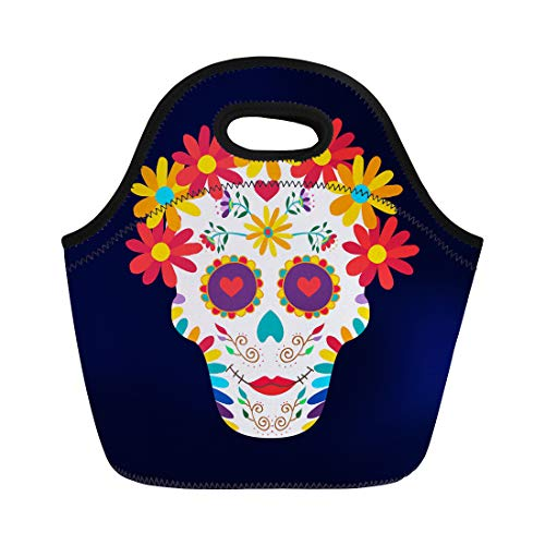Semtomn Neoprene Lunch Tote Bag Sugar Skull Woman