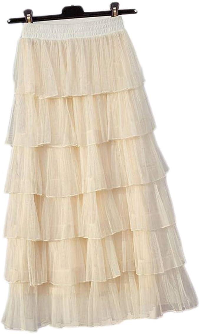 1x 90cm Maxi Long Skirts 3 Layers Shirt Mesh Pleated Women Flared Tutu Skirts VH