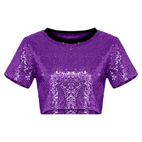 Multifit Women's Glitter Sequins Short Sleeve Scoop Neck Crop Tops(Purple-XL)