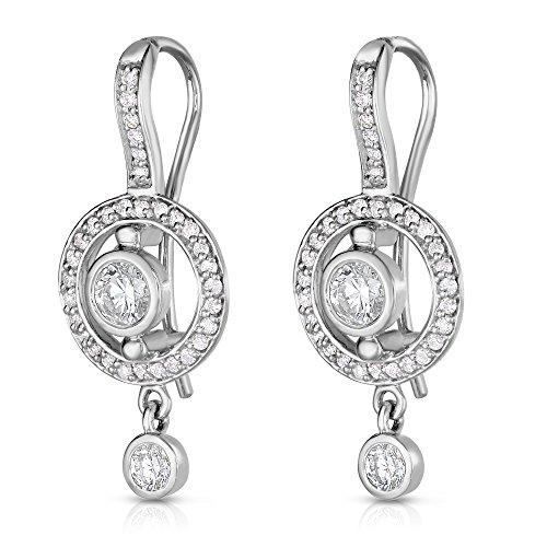 Noray Designs 14K White Gold Bezel Set Diamond (0.90 Ct, G-H Color, SI2-I1 Clarity) Dangle - Diamond Set Dangle Bezel Earrings
