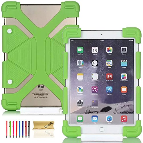 8.9-12 inch Tablet Back Case, Dteck(TM) Universal Silicone Case Multi-Angle Portable Stand [Corner Protector] Rugged Body Back Cover with Bracket for All 8.9-12 inch Apple Samsung Tablets (01 Green)