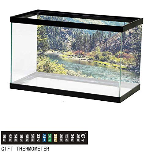 bybyhome Fish Tank Backdrop Landscape,Mountain with Pine Trees,Aquarium Background,36
