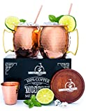 100% Authentic Moscow Mule Copper Mugs Set -- Heavy weight -- Food Safe -- Includes Wooden Coasters, Copper Straws, Shot Glass and Printed Cocktail Manual