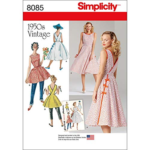 Simplicity Pattern 8085 H5 Misses' Vintage 1950s Wrap Dress in Two Lengths, Size 6-8-10-12-14 ()