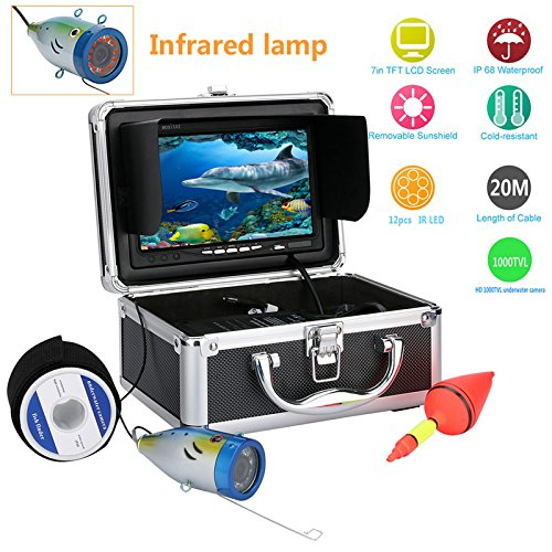 OUYAWEI Underwater Fishing Camera - 7 Inch Monitor, 20m Cable, Hard Carrying Case, Waterproof Cold-Resistant