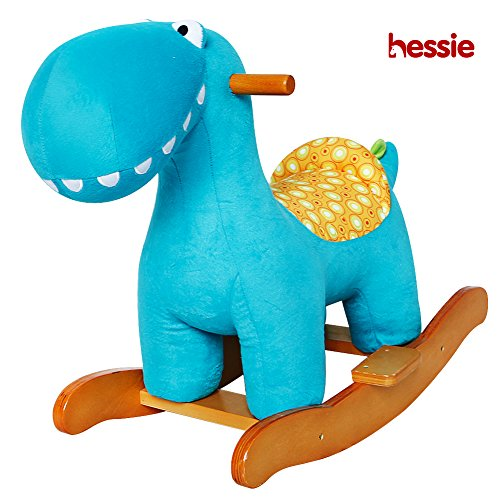 Hessie Modern Plush Rocking Horse with Soft Cute Stuffed Animal, Indoor Ride On Toys Rockers for Toddlers Kids Little Boys & Girls (6-36 Months) - Padded Aquamarine -
