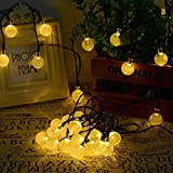 SOLVAO Solar Globe String Lights (30 LED) - Waterproof Outdoor Decorative Lighting for Your Patio, Garden, Deck, Umbrella or Camping Trip - Create an Inviting Warm White Atmosphere Powered by The Sun