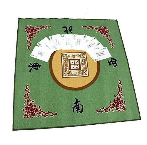 Mahjong Card With Table Cover ~ American Western Mahjong 178 Cards & Table Cover (Green) For Playing Mahjong, Poker ~ We Pay Your Sales Tax