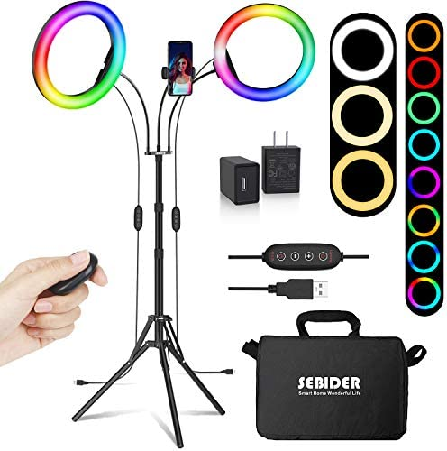"10"" Selfie Ring Light with Tripod Stand and Phone Holder(Extendable 71""), SEBIDER 26 RGB Dimmable LED Dual-Circle Light for TikTok/Live Stream/Makeup/YouTube Video, Compatible with iPhone & Android"