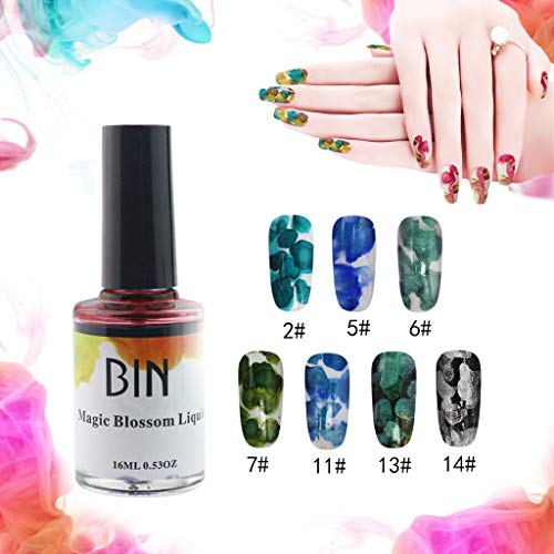 Flurries  7PCS Blossom Nail Polish Set - Watercolor Marble Nail Ink - Magic Blossom Gel - Beautiful Flower Nail Enamel - Art Varnish Manicure Design (Set A)