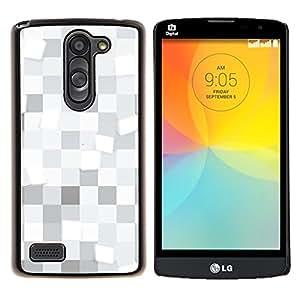 LECELL--Funda protectora / Cubierta / Piel For LG L Bello L Prime -- Cuadrados blancos Patrón --