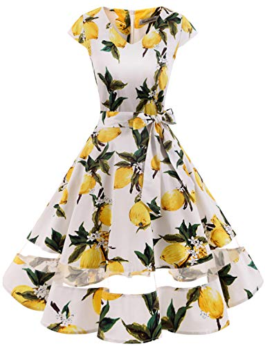 Gardenwed Women's 1950s Rockabilly Cocktail Party Dress Retro Vintage Swing Dress Cap-Sleeve V Neck Lemon Flower L
