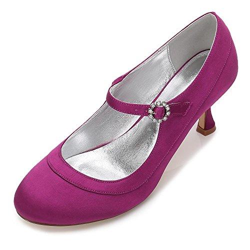 En Tacón L De Zapatos yc Mujeres Del Bajo F17061 La Purple Boda Basado Satén 41 Para Nupcial Los Calzan BqY1Oznq