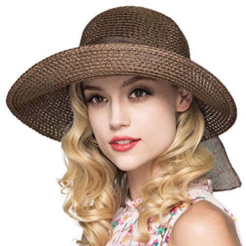 Cyiecw Women Floppy Sun Hat Summer Wide Brim Beach Cap Packable Cotton Straw Hat for Travel (Deep Brown)