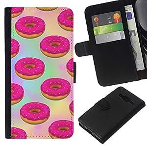Supergiant (Doughnut Pink Sweets Pastry Baking) Dibujo PU billetera de cuero Funda Case Caso de la piel de la bolsa protectora Para Samsung Galaxy Core Prime / SM-G360