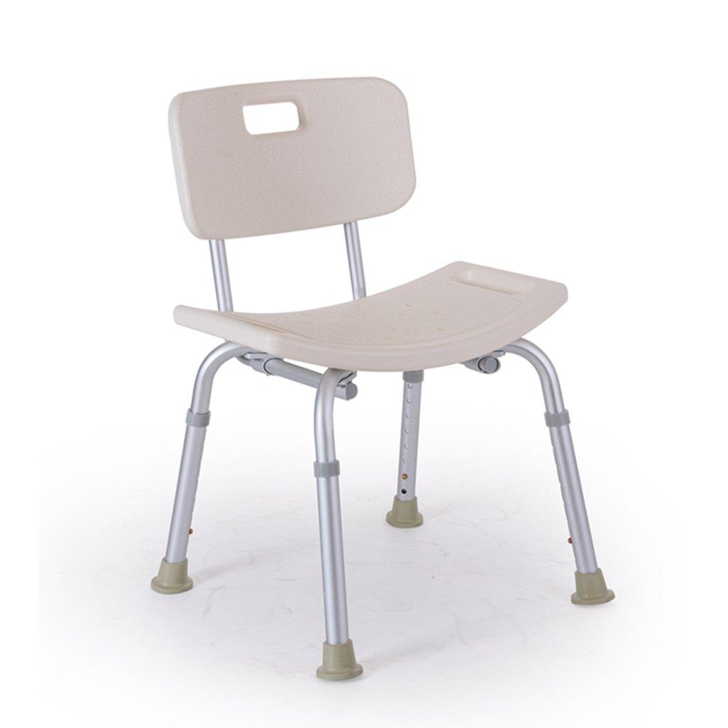 シャワー/バススツールアルミ合金シャワーシートチェアノンスリップ高さ調整可能な障害援助シャワー椅子背もたれとハンドルバスベンチ付き8高さで調節可能ホワイト高齢者/障害者のためのベンチ最大。 136kg B07F3313CF