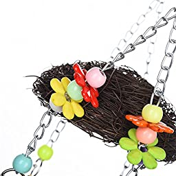 Creative Birds Rattan Nests with Hanging Chew Toys 2 in 1 Parrot Hammock Swing Rest Place with Bells for Budgies Parakeet Cockatiels Conure Lovebird Finch