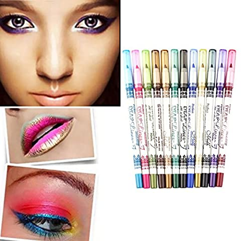 Popfeel 12 Color Glitter Eyeliner Lip Liner Set ,PVC Design Eyebrow Pen Pencil Makeup Kit - Lip Colour Loreal Infallible 1 Kit