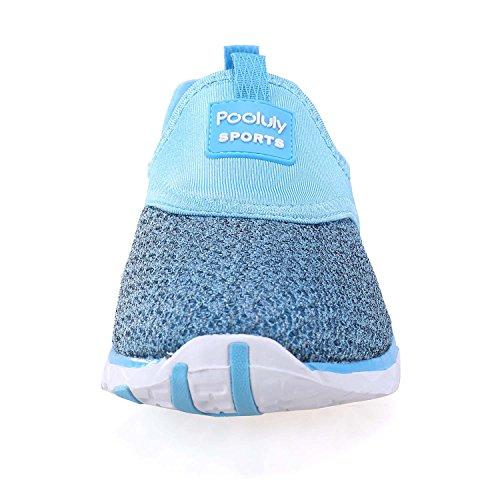 Pooluly Womens Lichtgewicht Atletisch Sneldrogend Mesh Aqua Instapmodel Waterschoenen Blauw 306
