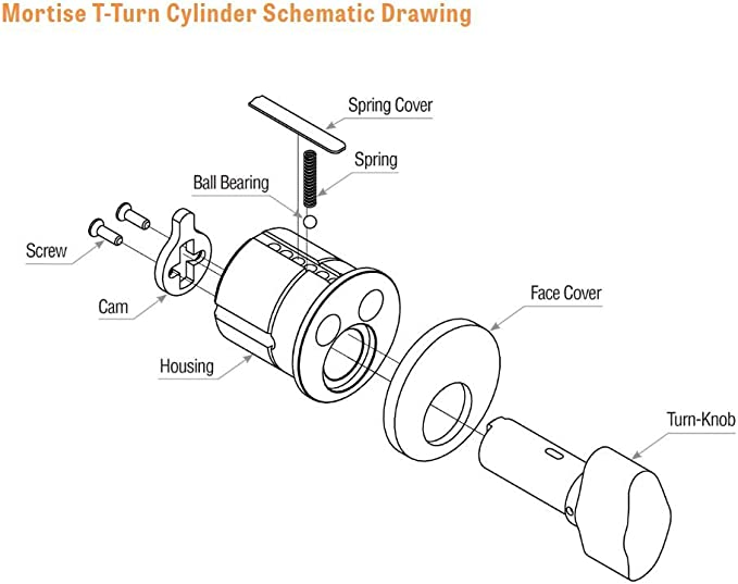 """GMS M118T-10B-AT Mortise 1-1//8/"""" Thumb Turn Cylinder"""