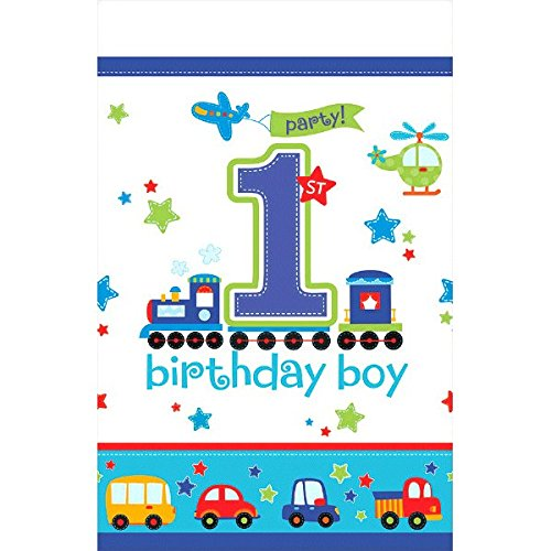 [All Aboard! Birthday Party Plastic Table Cover, Multi Colored, plastic, 54