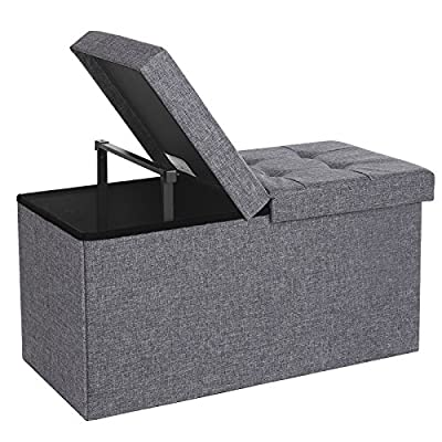 "SONGMICS 30"" L Fabric Storage Ottoman Bench with Lift Top, Storage Chest Foot Rest Stool, Dark Grey ULSF40H"