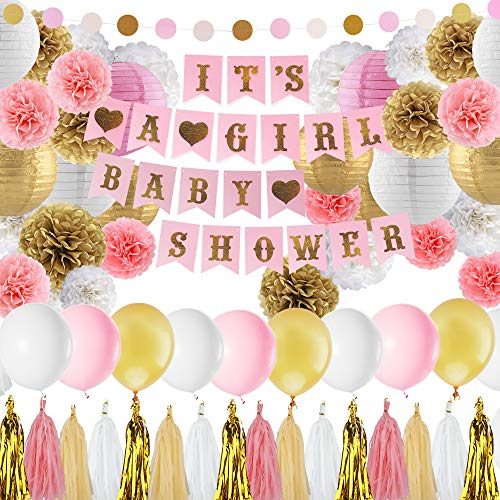 Baby Shower Decorations for Girl Pink and Gold Baby Girl Shower Decorating Kits with Banner, Balloons, Pom Poms Flowers, Paper Lantern, Paper Garland, Tassels …