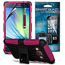 ( Hot Pink ) Samsung Galaxy A5 Case Custom Made Case Tough Survivor Hard Rugged Shock Proof Heavy Duty Case W/ Back Stand, LCD Screen Protector Guard, Polishing Cloth & Mini Retractable Stylus Pen by ONX3®