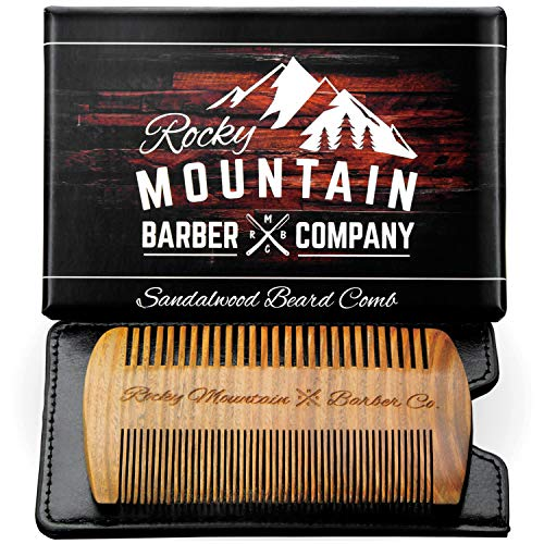 Beard Comb – Natural Sandalwood for Hair with Scented Fragrance Smell with Anti-Static – Handmade Fine Tooth Brush Best for Beard Moustache Packaged in Giftbox
