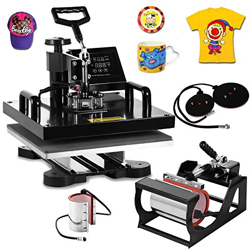 VEVOR Heat Press Machine15x15inch 6 in 1 Digital Multifunctional Sublimation Auto-Countdown Heat Presser for T Shirts Hat Mug (Black, 15x15INCH/6IN1) from VEVOR