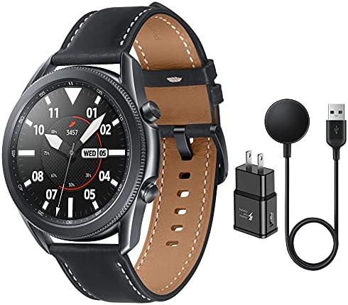Samsung Galaxy Watch 3 Stainless Steel (45mm) SpO2 Oxygen, Sleep, GPS Sports + Fitness Smartwatch, IP68 Water Resistant, International Model – No NFC SM-R840 (Fast Charge Cube Bundle, Mystic Black)