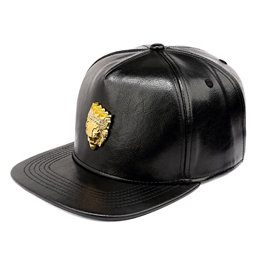 plana de Buckble Cinturón león MCSAYS Snapback Corona Ca negro cabeza béisbol St sombrero Hombre brillante de ala de acero qE668xZ