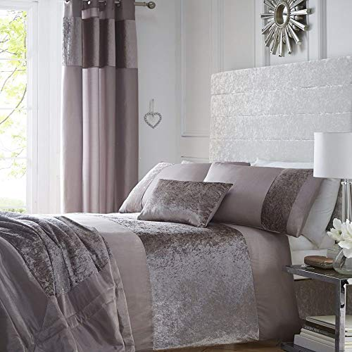 Portofino Comforter Set - Luxury Crushed Velvet Panel Duvet Quilt Cover Bed Linen Bedding Set Mink - UK King / US Queen