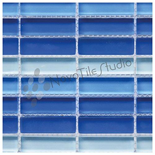 Box 10 Tiles Shades Of Blue Glass Mosaic Tile 12''x12'' VERONA-GL019 (10) by NovoTileStudio.com